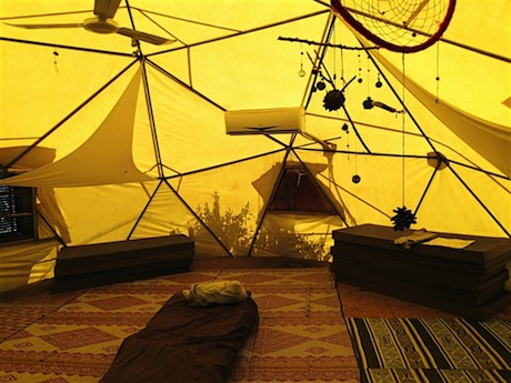 My pad in the late afternoon. The dreamcatchers sway in the moving air inside the geodesic dome.