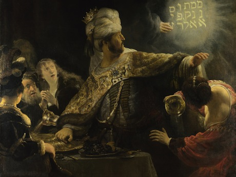 "Rembrandt, ""Belshazzar's Feast."" About 1636-8. Image from here."