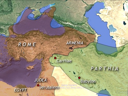The meeting place of superpowers. 1st c. BC. Judea, the birthplace of Jesus and the domain of Herod, guarded Rome's southeast flank. This map is a modified image from Google Earth.