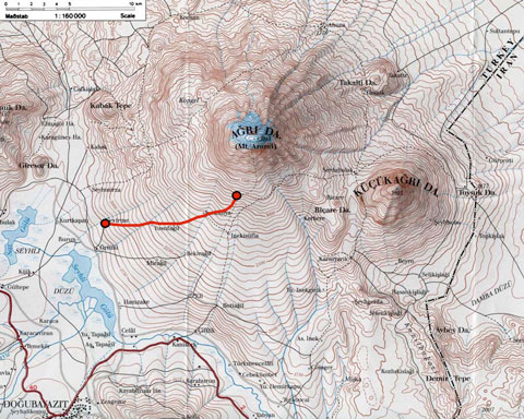 Topographic map showing the route from Çevirme to Low Camp (Base 1).