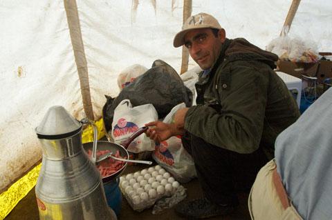 Mustafa at work.
