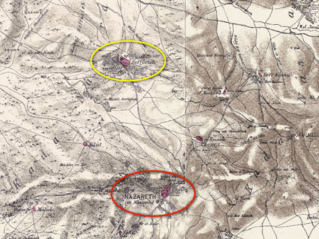 I traverse the drainage basin between Nazareth (inside the red circle) and old Suffuriyyah (inside the yellow circle). This image is a composite of two plates found in the work of the British explorers Kitchener and Conder (published in the 1880s). Old maps like these strip away some of the veneer of modernity. Check out the wonderful tool at the Digital Archaeological Atlas of the Holy Land  here.