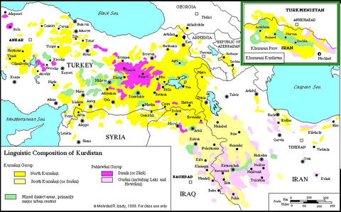 Distribution of Kurdish.