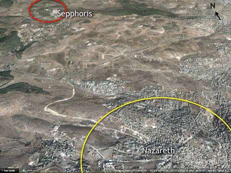 View NW from high above Galilee. Note the new road (whitish color) being cut from Nazareth (at about 10 o'clock on the yellow circle) to the main road. Salute to Google Earth once again.