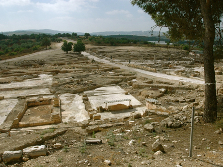 View to the lower city of Sepphoris. The stone paved road through the center of the city is the decumanus, the major east-west corridor. It yields to modern asphalt on the near horizon where the cars are parked outside of the visitor's center. The outskirts of modern Nazareth are visible on the distant horizon (right) .