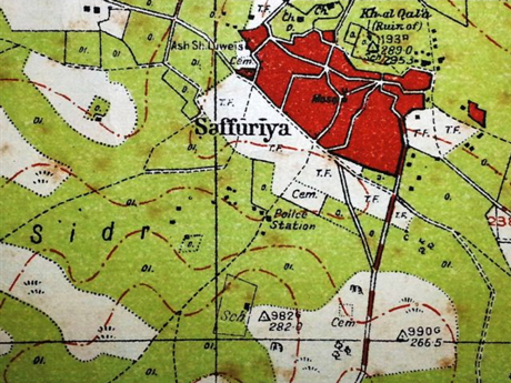 Detail from a British map of 1942. The village of Suffuriyyah in red.Source.