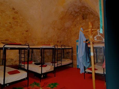 Our dorm room (by day) at the Fauzi Azar Inn.