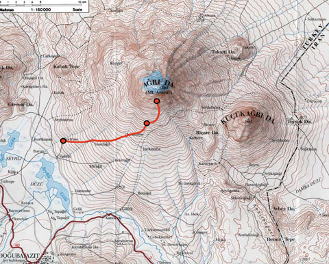 The route from Çevirme to Low Camp to High Camp.