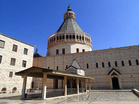 View to the Basilica of the Annunciation from the courtyard.