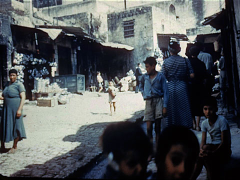 "Nazareth's souq. This slide, simply labeled ""Nazareth"" was donated to CCU a few years ago. Credit unknown."