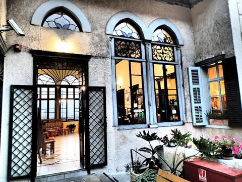 Outside the reception area of the Fauzi Azar Inn.