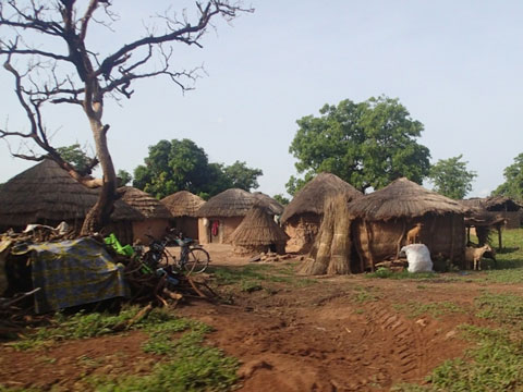 A traditional village in northern Ghana. Homes are constructed of mud and thatch.