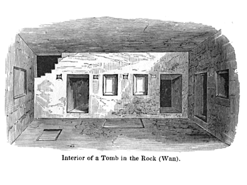 "The interior of the ""Caves of Khorkhor (Layard 1853: 340)."
