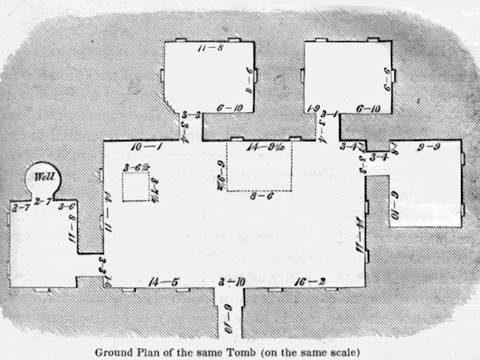 "The top plan of the ""Caves of Khorkhor"" (Layard 1953:341)."