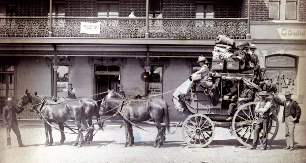 Cobb & Co Stagecoach outside Commercial Hotel in Barraba, Australia. Image from here.