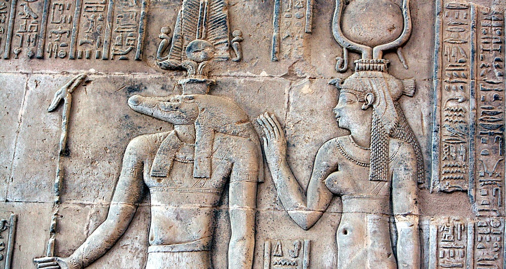 Sobek and Hathor depicted on the Kom Ombo Temple, Egypt. Image from here.