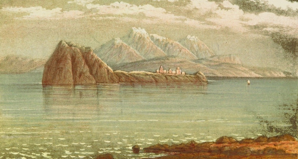 View to Aghtamar Island published by John Ussher in his   A Journey from London to Persepolis; Including Wanderings in Daghestan, Georgia, Armenia (1865). Image from  here .