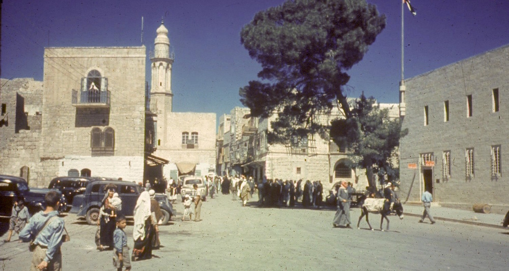 View to Manger Square in Bethlehem, Palestine. Date unknown. Image from a private collection of slides donated to Cincinnati Christian University.