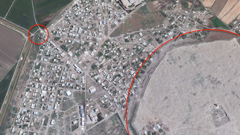 "The corner of the mound of Haran (right). The smaller circle on the left encloses Yakub Kuyusu, or the ""Well of Jacob."" Image from Google Earth."