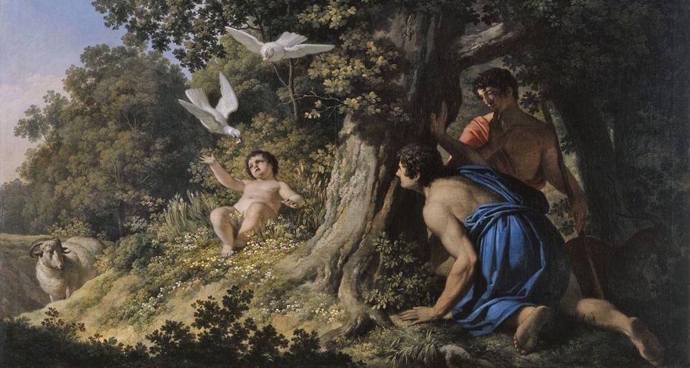 "Franc Kavčič, ""Semiramido hranijo golobi"" (1810). Painting located in the National Gallery of Slovenia. Image available here."