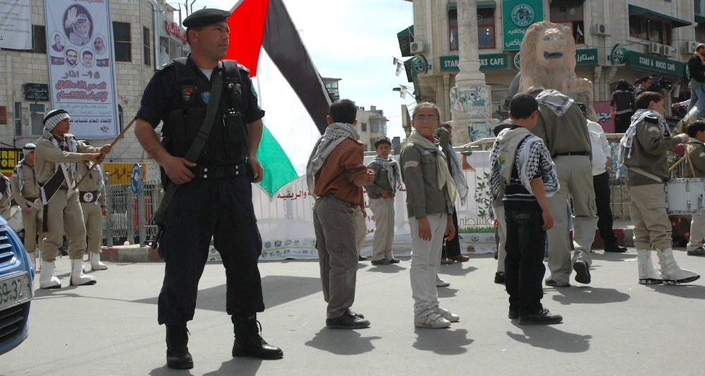 Palestinian security at a Scout parade in Manara Square, Ramallah.