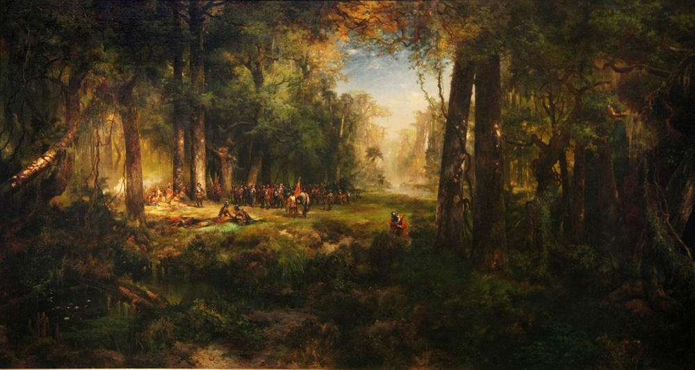 "Thomas Moran's classic ""Ponce de Leon in Florida"" (1878) captures thick green of live oak, vines, palmettos, and Spanish moss of Old Florida. Image from  here ."
