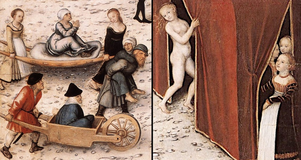Details within Cranach's work show stained old women arriving at the fountain on litters and carts.They emerge the other side, pink and fresh. Inside the tent they dress and step out as ladies ready for courtin'. The fellas line up to greet them. These images and other mini-scenes are from  here.