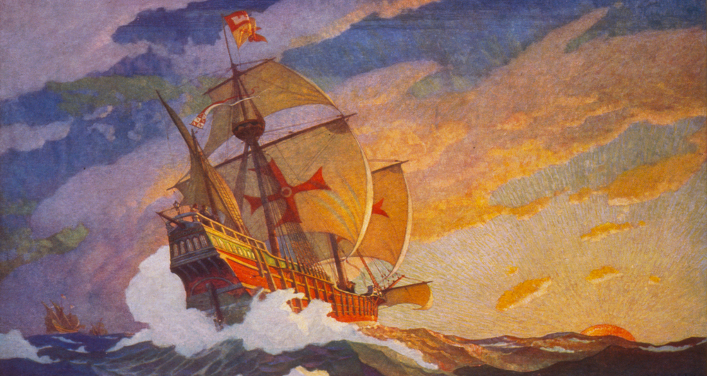 "Every romantic must love the illustrations of N. C. Wyeth. This is his ""Ships of Christopher Columbus at sea"" (1927). Image from  here."