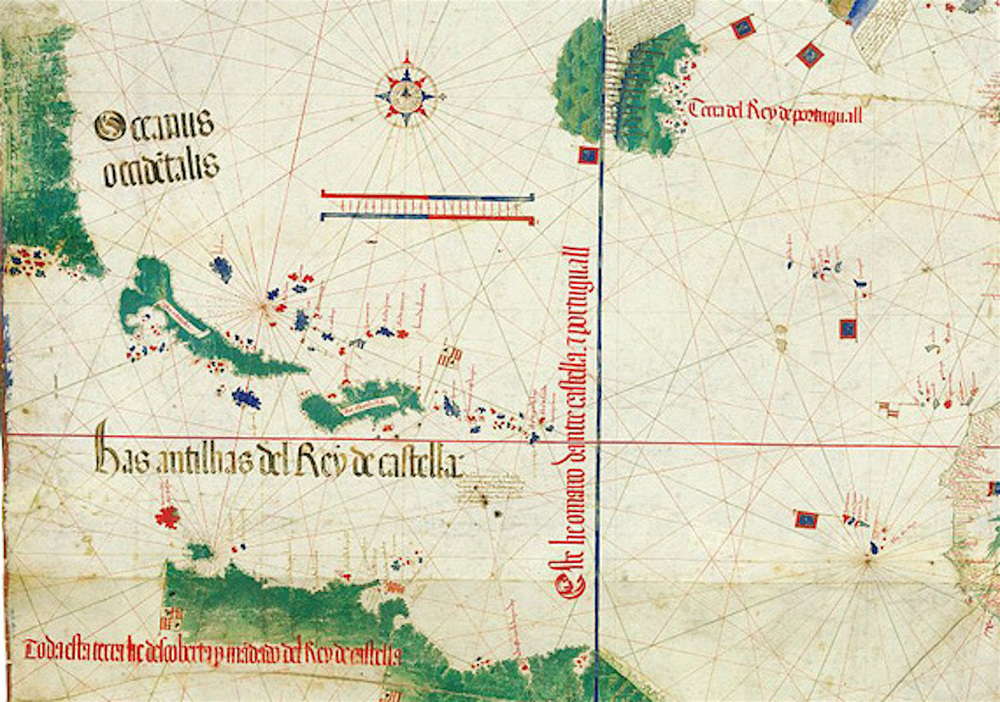 "Note the peninsula on the far upper left of this detail from the Cantino Planisphere. This is likely the peninsula of Florida, even though the region was not officially ""discovered"" until 1513. Remember the Cantino Planisphere was drawn 1502. Note also the vertical line here dividing control of the region between Castile (Spain) and Portugal."