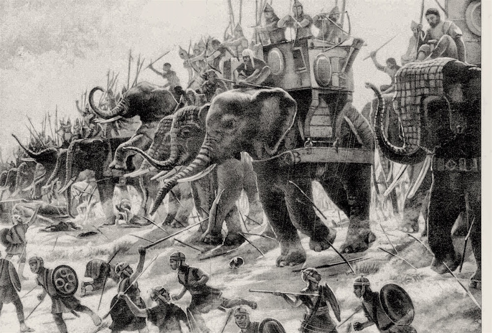Carthaginian war elephants in battle. Image from here.