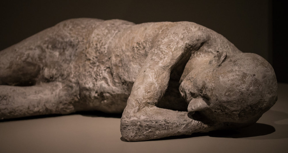 A Pompeii cast from the ashy excavations in the shadow of Mount Vesuvius, southern Italy. Image from  here.