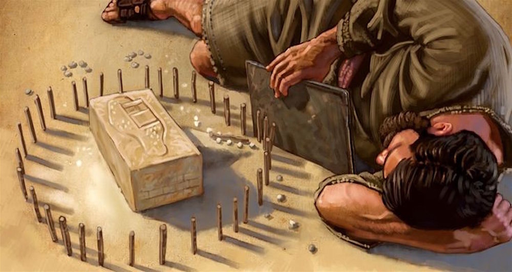 Ezekiel on edge. The iron pan separates him from his little model of a besieged Jerusalem. Image from  here.