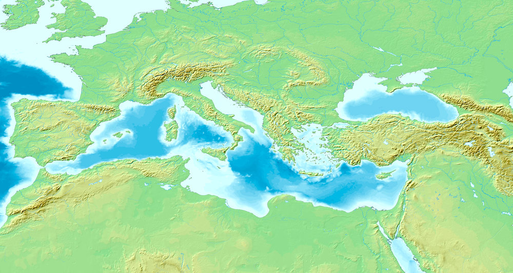 A map of the Mediterranean Sea with the adjacent regions and seas in Europe, Asia and Africa. Note how mountains ring the basin. Image from  here.