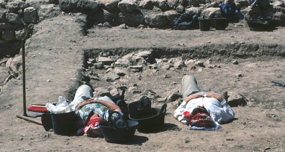 Well . . . most of us survived those days in the field with cotton. Tell Jawa Excavations, Jordan (1991).