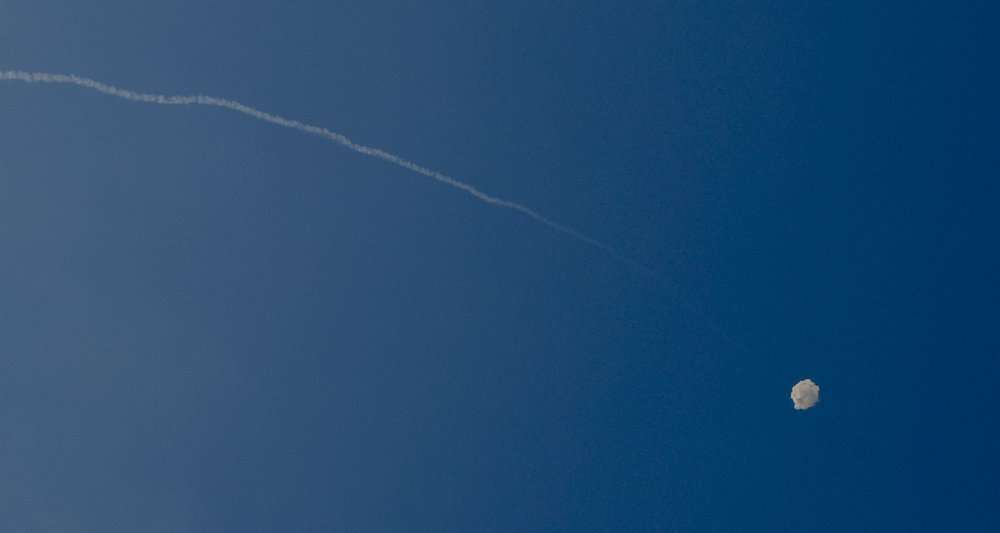Anti-rocket meets rocket overhead in Jaffa (for real, and don't ask).