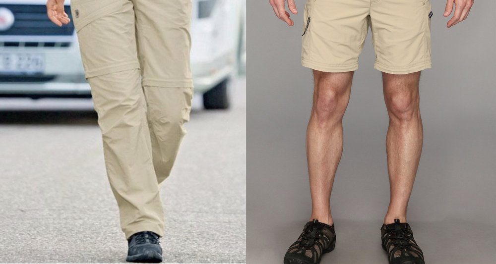 Zip-off pants are always stylish in my universe. Left, image from  here . Right, image from  here  .