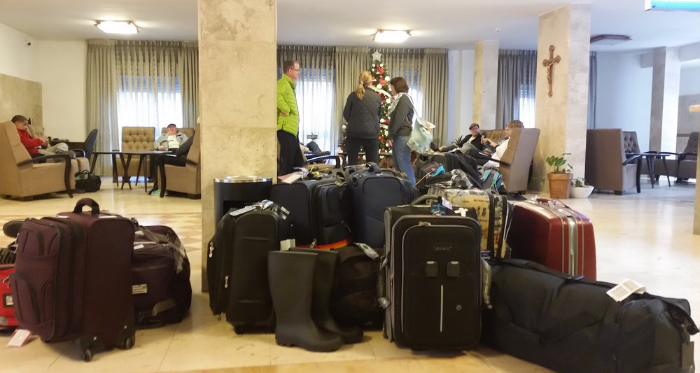 Packing to leave the Angel Hotel in Bethlehem.
