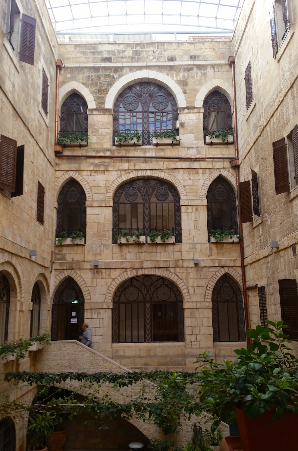 A marvelous courtyard is open to the sky inside Jerusalem's Casa Nova.