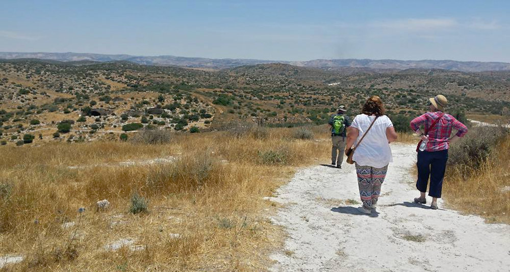 Hiking one of the trails at Beth Guvrin (Maresha).