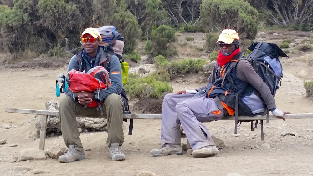 Kili mountain guides Godfrey (right) and Robert (left).