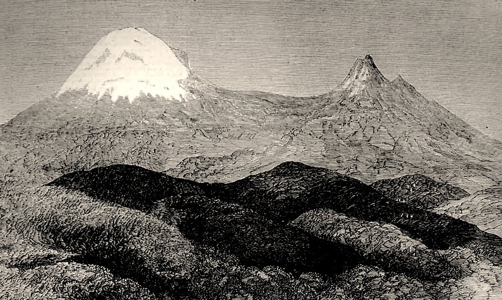 """The summit of Kilima-njaro, a snow-clad mountain in central Africa. From a sketch by the Rev. Charles New, of the Livingstone Relief Expedition."" Published in The Illustrated London News, June 8, 1872, more than a decade in advance of the first successful ascent in 1889. Image taken from here."