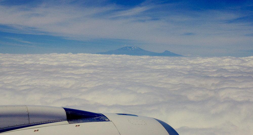Kilimanjaro appeared like an island in a cotton sea.