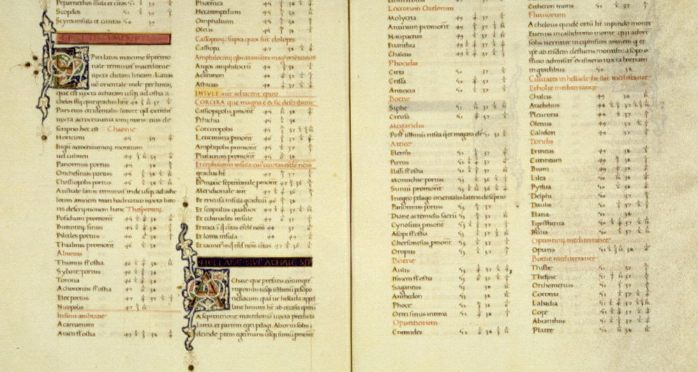 Two pages of Ptolemy's Geographical Guidance translated into Latin by Jacopo d'Angelo da Scarperia, ca. 1470. Image available here.