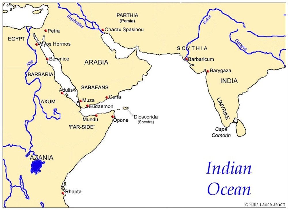 Map of places associated with the Indian Ocean in the Roman Period. This image may be found here.