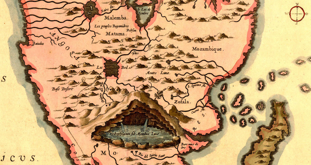 Image from Athanasius Kircher's 1655 map identifying the source of the Nile in a clever cut-away view of Africa.The river flows out from under the Mountains of the Moon and through Ethiopian lakes. Image from here.