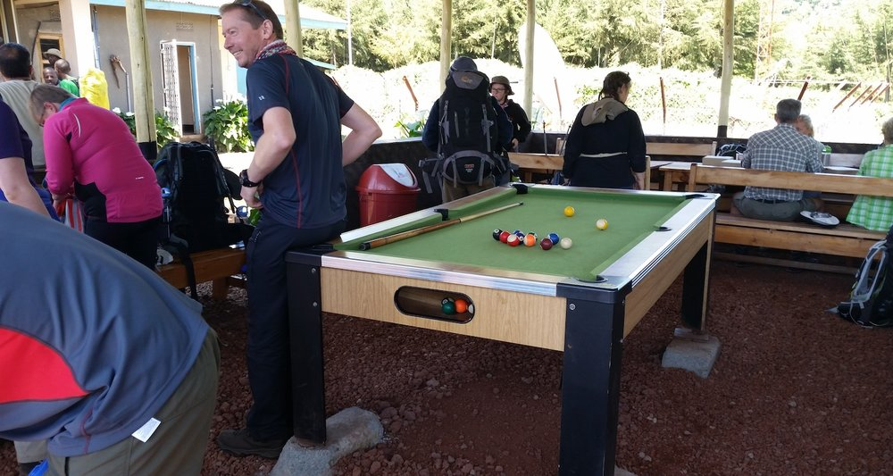 The shelter came complete with pool table. It was fairly level.
