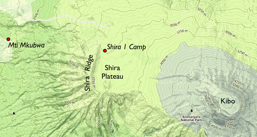 The goal for the day is to hike up and over the Shira Ridge.