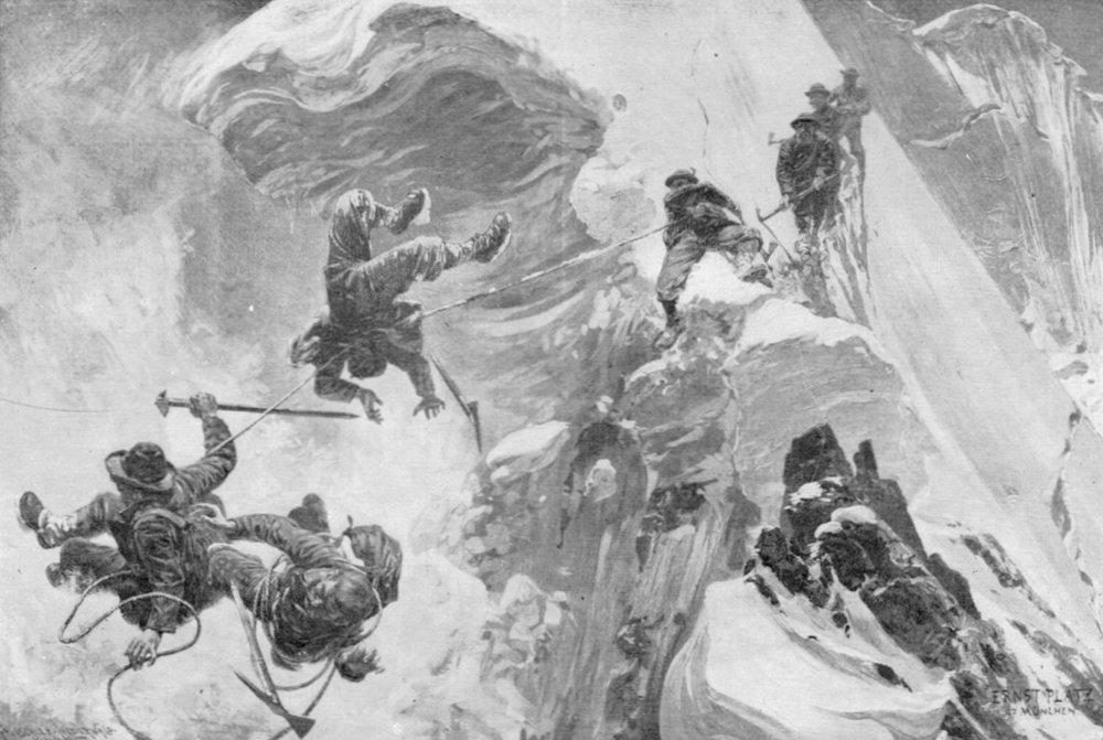 """Platz illustrates a bad day in his """"Durchbruch einer Schneewächte"""" (1897).  Image found  here."""