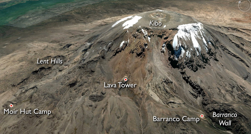 Key places around Kibo. Note Moir Hut Camp and the Lent Hills on the northwest side of the mountain. Map courtesy of Google Earth.