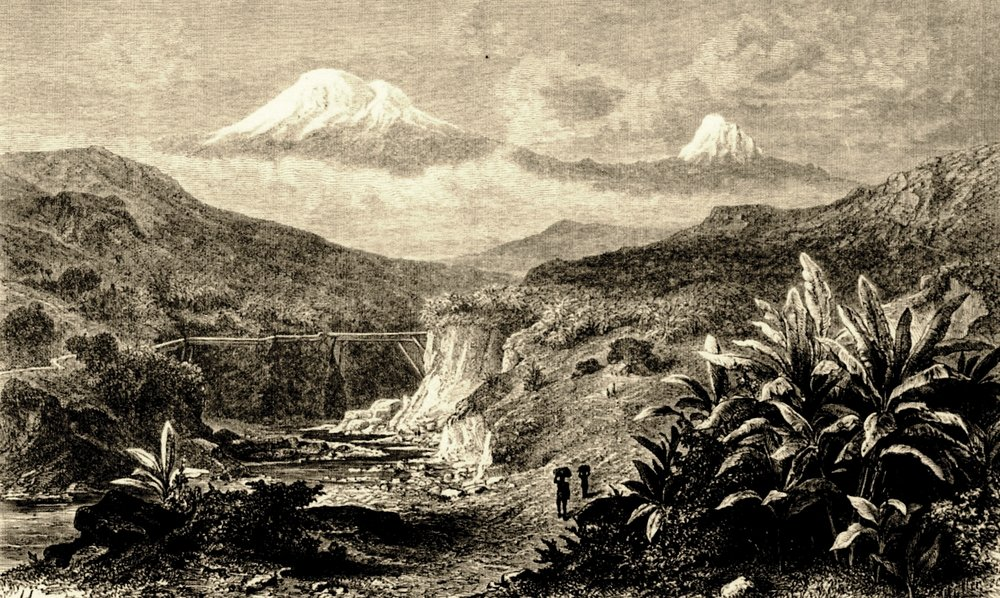 "The windy head of Kibo is pictured on the left, the fractured and ""unclimbable"" Mawenzi appears to the right. Note the broad col between them. The drawing, titled  Der Schneeberg Kilimanjaro von Machame aus , or ""The Snowmountain Kilimanjaro from Machame"" was published in 1869 in the volume  Reisen in Ost-Afrika in den Jahren 1859 bis 1865  (Otto Kersten, ed.).  Here  is the link to the post where I found it."